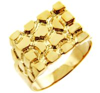 Men's Armour Solid Gold Nugget Ring, available in both 10k