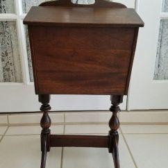 Kitchen Redo Lightweight Cabinets Vintage Sewing Box On Legs Wooden Knitting ...
