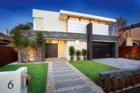modern front yard, simple lines, stepping stone entrance ...
