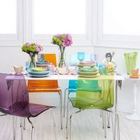 Multi coloured clear and coloured chairs. another version ...