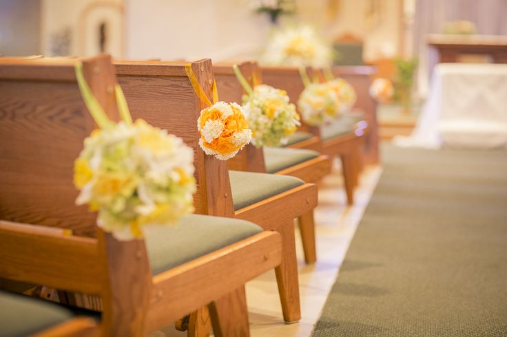 Green And Yellow Wedding Theme Church Aisle Decorations