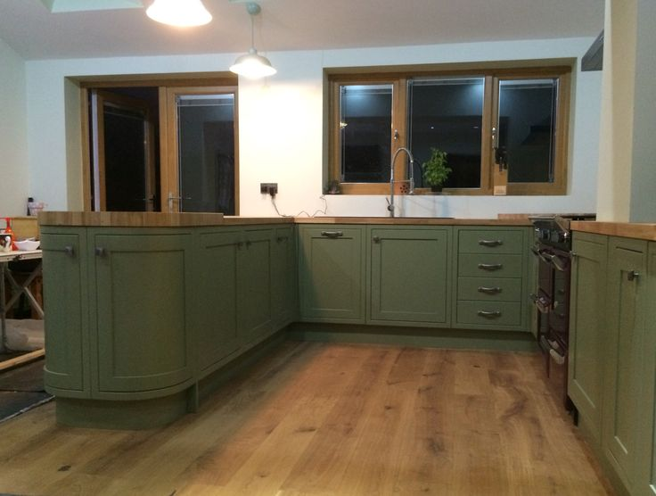 Bespoke painted Kitchen in olive farrow  ball  Olive