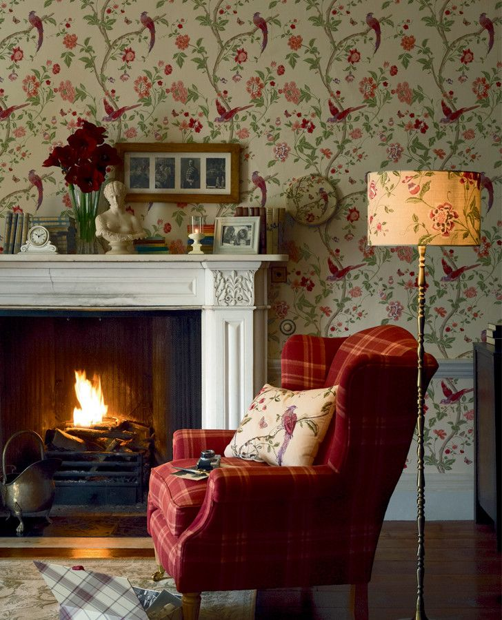 Summer Palace Cranberry Wallpaper Fireplaces Summer And