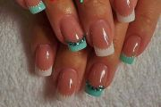 french manicure in turquoise