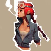 oc with red hair and aviator goggles