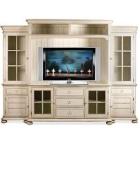white entertainment center with glass doors ...