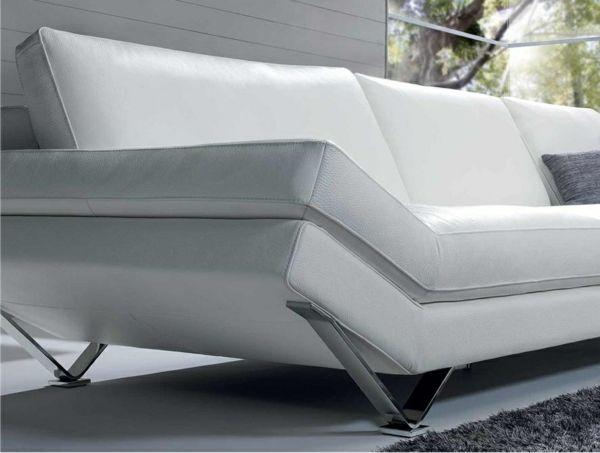 Natuzzi  White Sofa with Metal ahhhhh  MoJo  Design