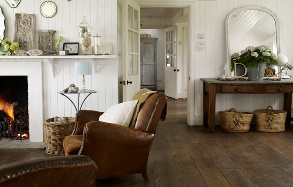 Love all the white with rustic wood and that leather chair @ pale and interesting
