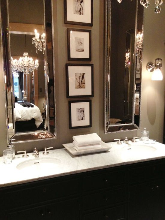 swap out 1 large mirror for 2 tall – love the little picture in the middle
