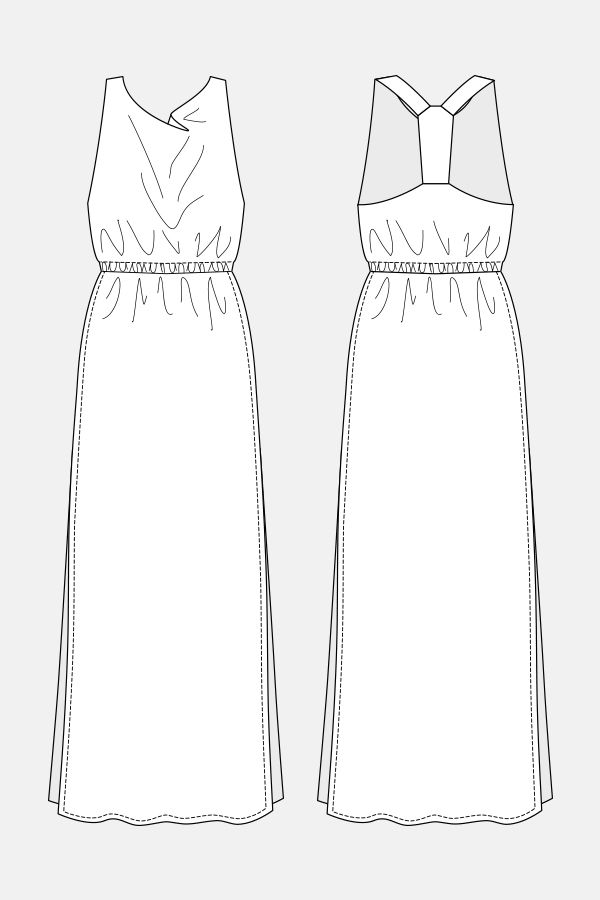 Ama Cowl Neck Frock Long dress with a cowl neck at front