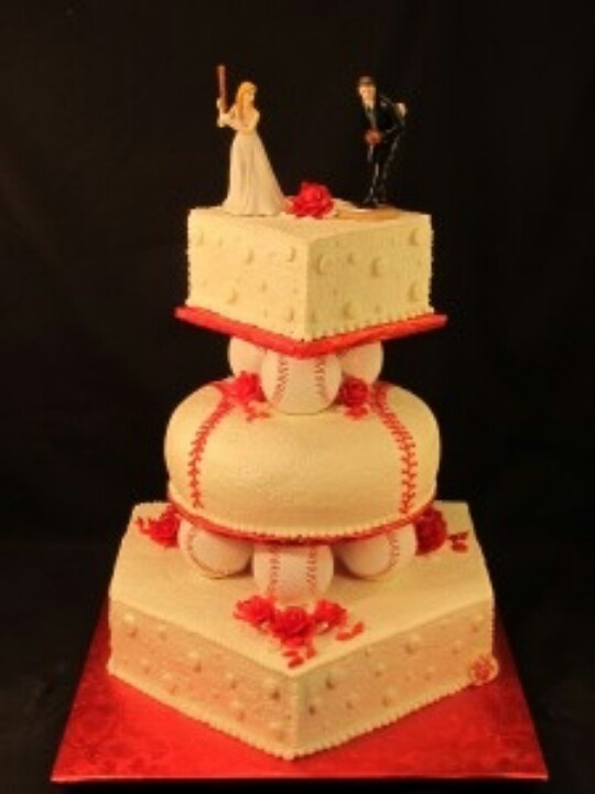 Baseballsoftball wedding cake  SoftballBaseball  Pinterest