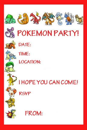 Pokemon Invitation Ideas For Peans Pinterest Pokemon