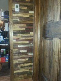 Rustic wall treatment. Wood lathe stained 5 different ...