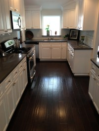 Kitchens With Grey Wood Floors And Dark Wood Cabinets