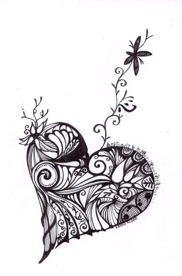 675 best images about Art: Zentangle Heart on Pinterest