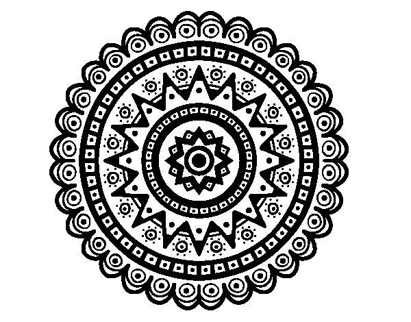 Dibujo de Mandala tnica para Colorear  Niosnias