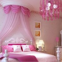 Non-woven wallpaper rustic child real girl wallpaper pink ...