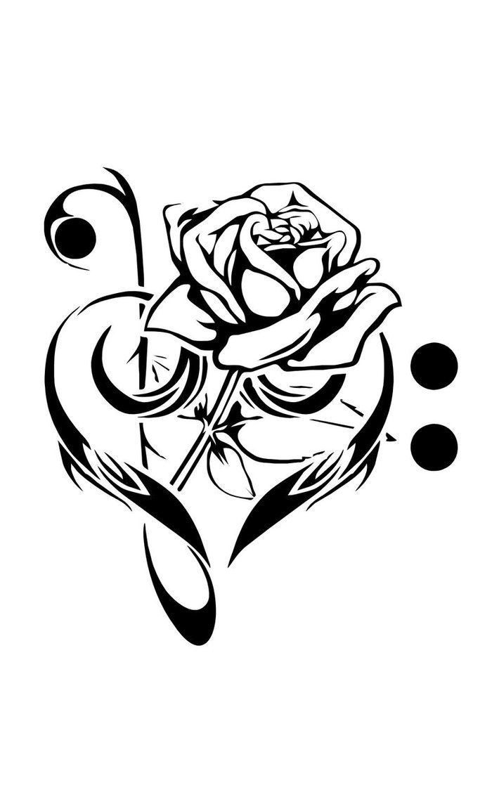 Love And Music Tattoos › Music, Rose and Love Tattoos (My