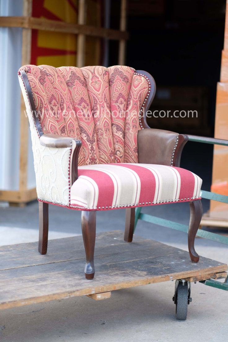 IN STOCK  Vintage Channel back upholstered wingback chair