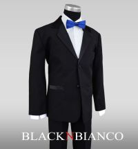 Black Suit With Blue Bow Tie