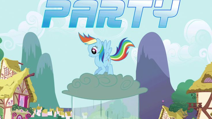 Rainbow Dash  Party Hard by Jumping on Clouds GIF