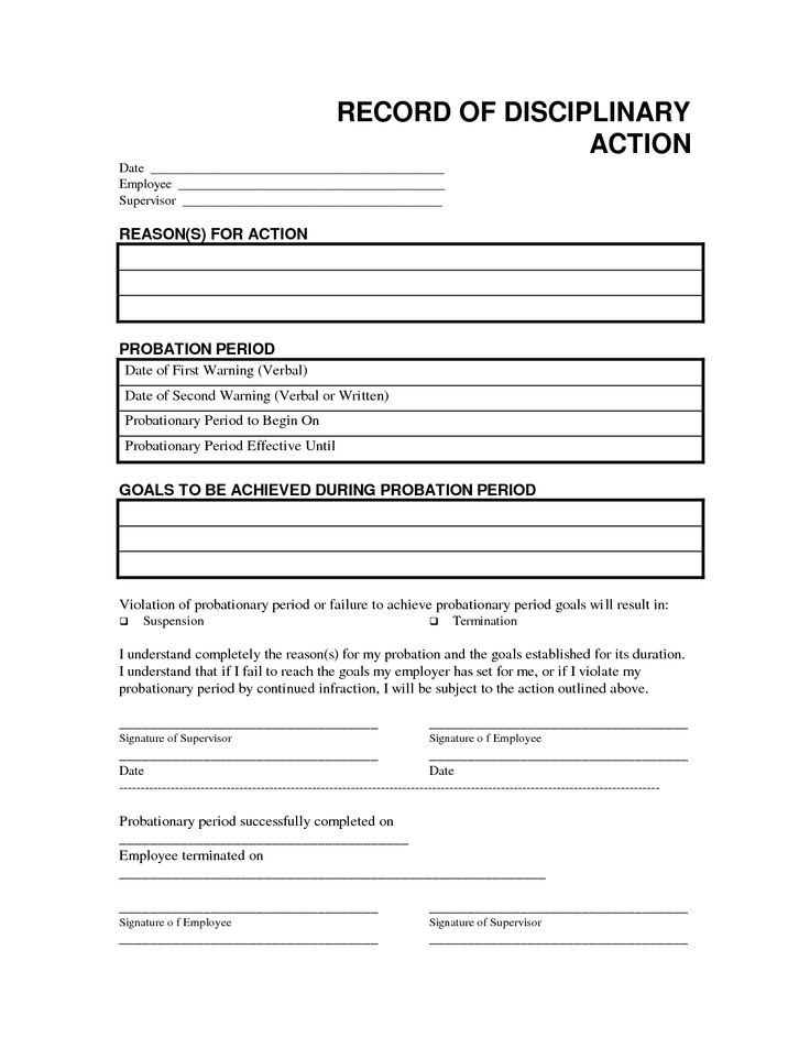 Record Disciplinary Action Free Office Form Template By
