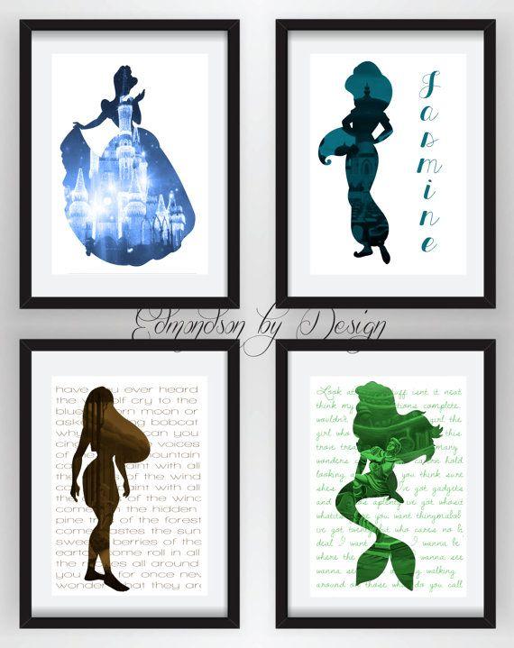 Princess Girls Room Art Disney Princess Silhouette Art