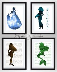 Princess Girls Room Art Disney Princess Silhouette Art ...