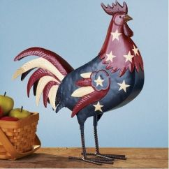 Rooster Statue For Kitchen Unit Patriotic Country Chicken Metal Statue. | ...