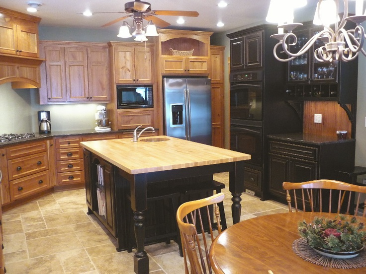 Rustic Cherry Cabinets With Black Island Kitchen Pinterest Cherries Colors And The Ojays