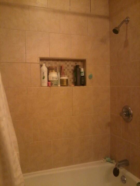 Shower Cubby Holes Same Mosaic On Floor Bathroom