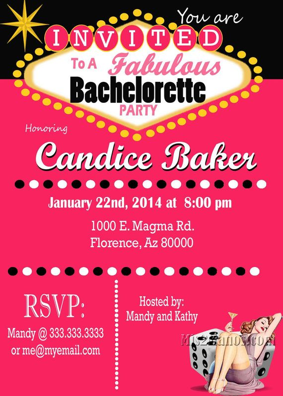 Casino Theme Party Las Vegas Bachelorette Party Invitation Retro Pin Girl Lingerie Shower