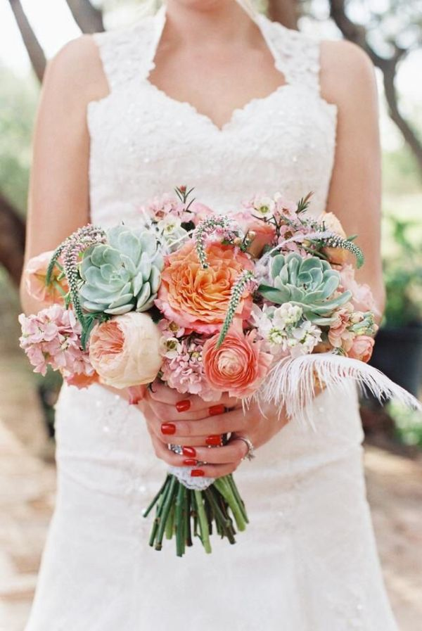 Bouquet with Free Spirit roses Juliet roses peach Stock