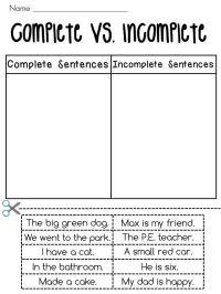 Complete Sentences vs. Incomplete Sentences Sorting ...