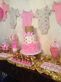 Pink and gold Baby Shower Party Ideas | Baby shower ...