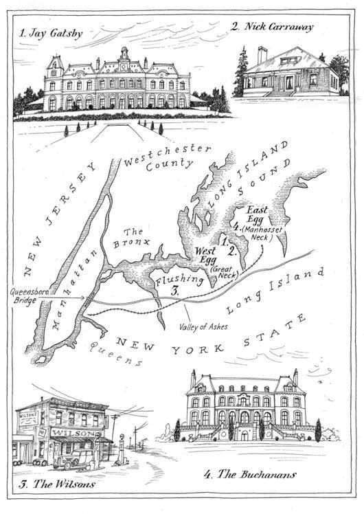 Map of New York in The Great Gatsby by F. Scott Fitzgerald