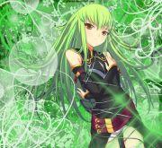 anime girl with green hair light
