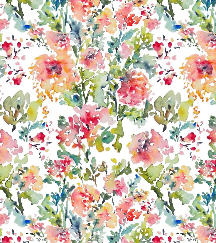 Watercolor Flowers Fabric Pattern Fabric Designs Pinterest Watercolors Fabrics And
