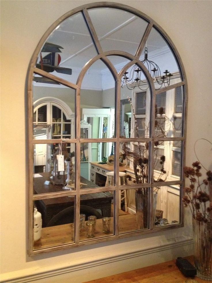 Farmhouse Fireplace Decor With Mirror Industrial Window Pane Mirror With Distressed Finish