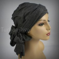 Gray Turban Head Wrap Alopecia Chemo Head Scarf Jersey