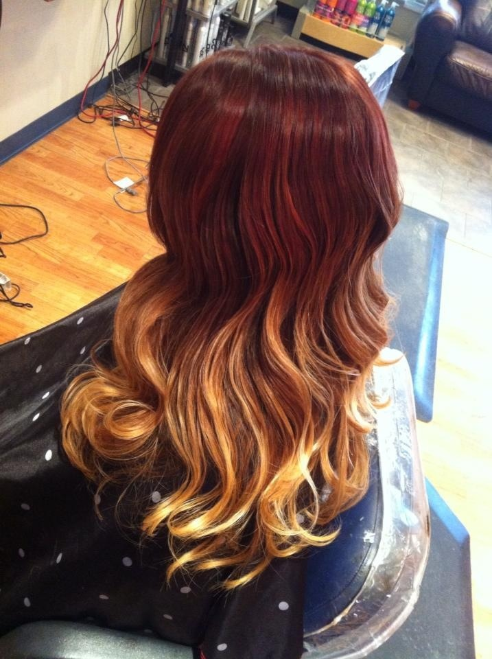 Red To Blonde Ombr Hair Pinterest Red To Blonde