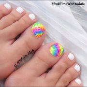 neon multicolor tie-dye pedicure