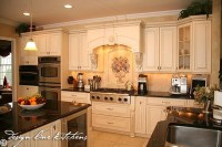 A beautiful Tuscan style kitchen. Love the white cabinetry ...