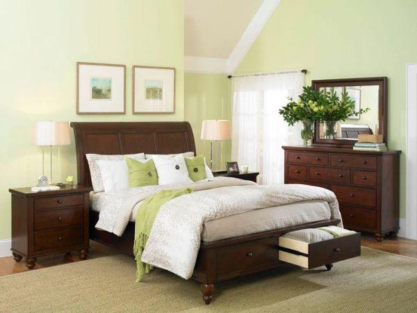 light brown paint bedroom room Master Bedroom {green wall} / dark furniture | Decorating