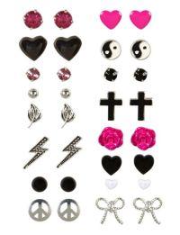 16 Pack Icon Stud Earrings