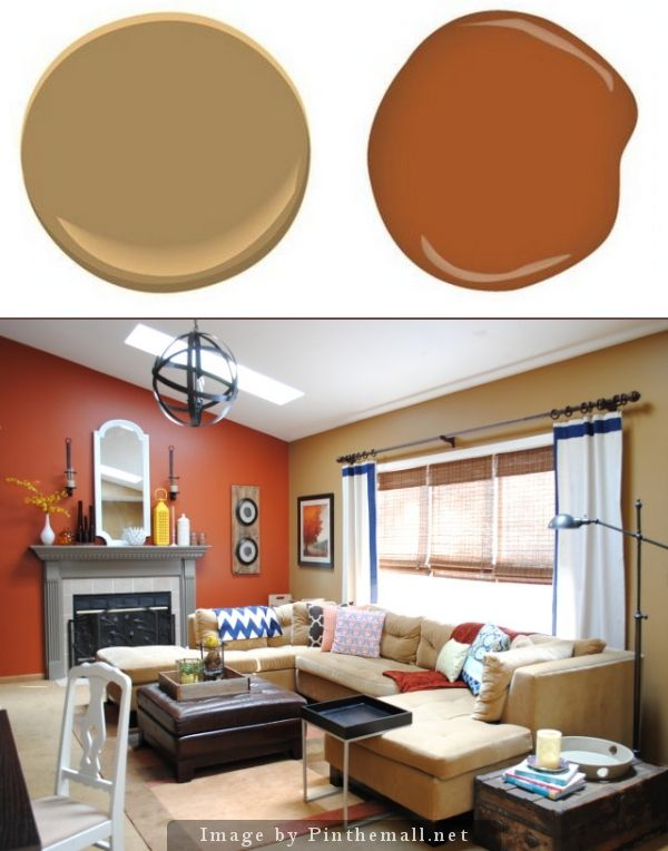 Benjamin Moore Mystic Gold Glidden Crisp Autumn Leaves Off Of The Kitchen And Dining Burnt Orange Accent Wallorange