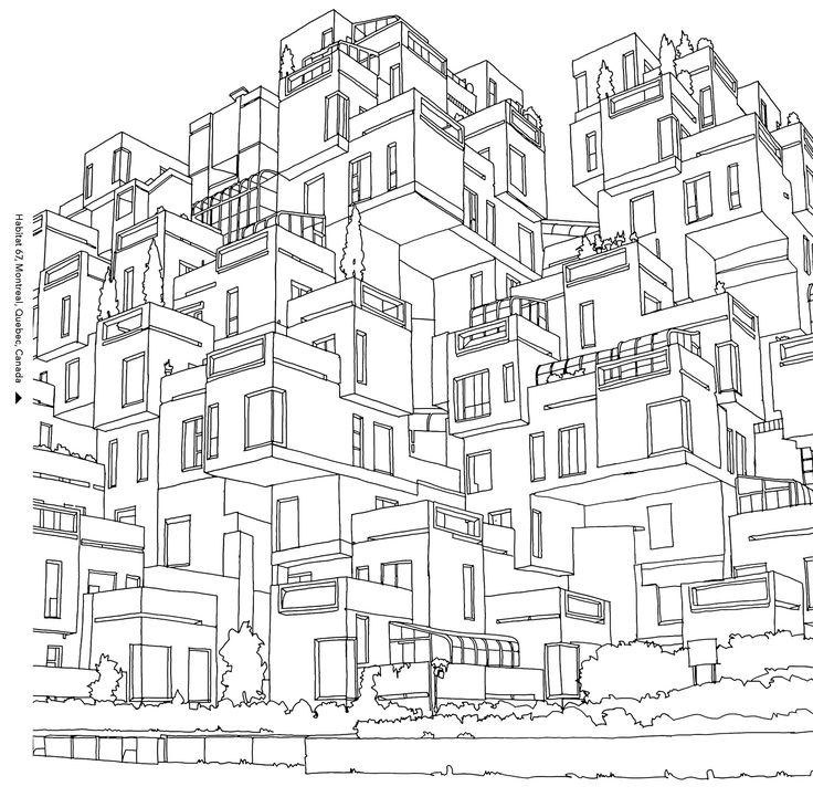 Free coloring page coloring-moshe-safdie-habitat-67-in