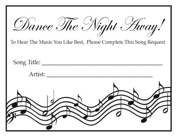 Wedding Party Song Request Cards BLACK & by