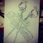 comb & scissors tattoo design