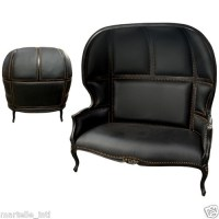 French Empire Black Leather Sofa Love Seat Double Canopy ...